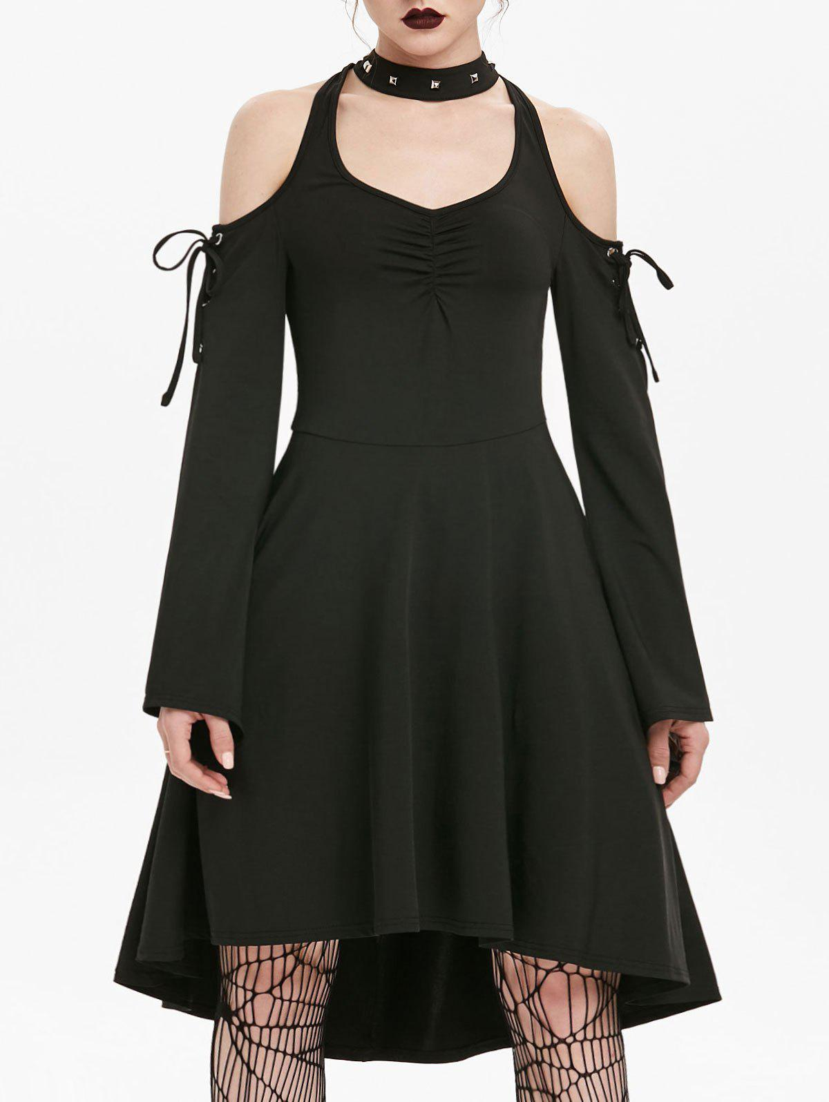 Cheap Cold Shoulder Lace-up Flare Sleeve Skater Gothic Dress