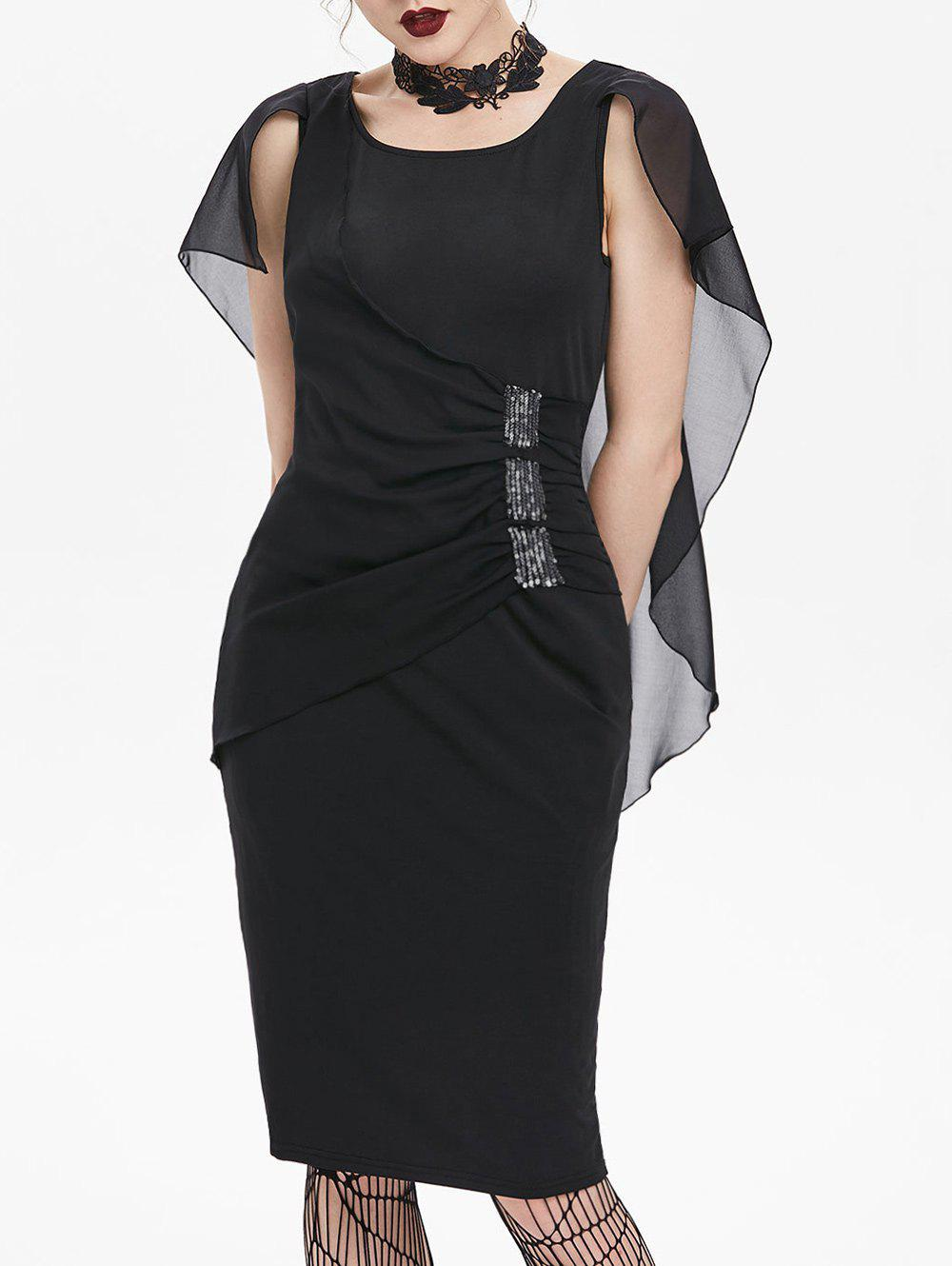 Trendy Sequined Ruched Chiffon Insert Cape Bodycon Gothic Dress