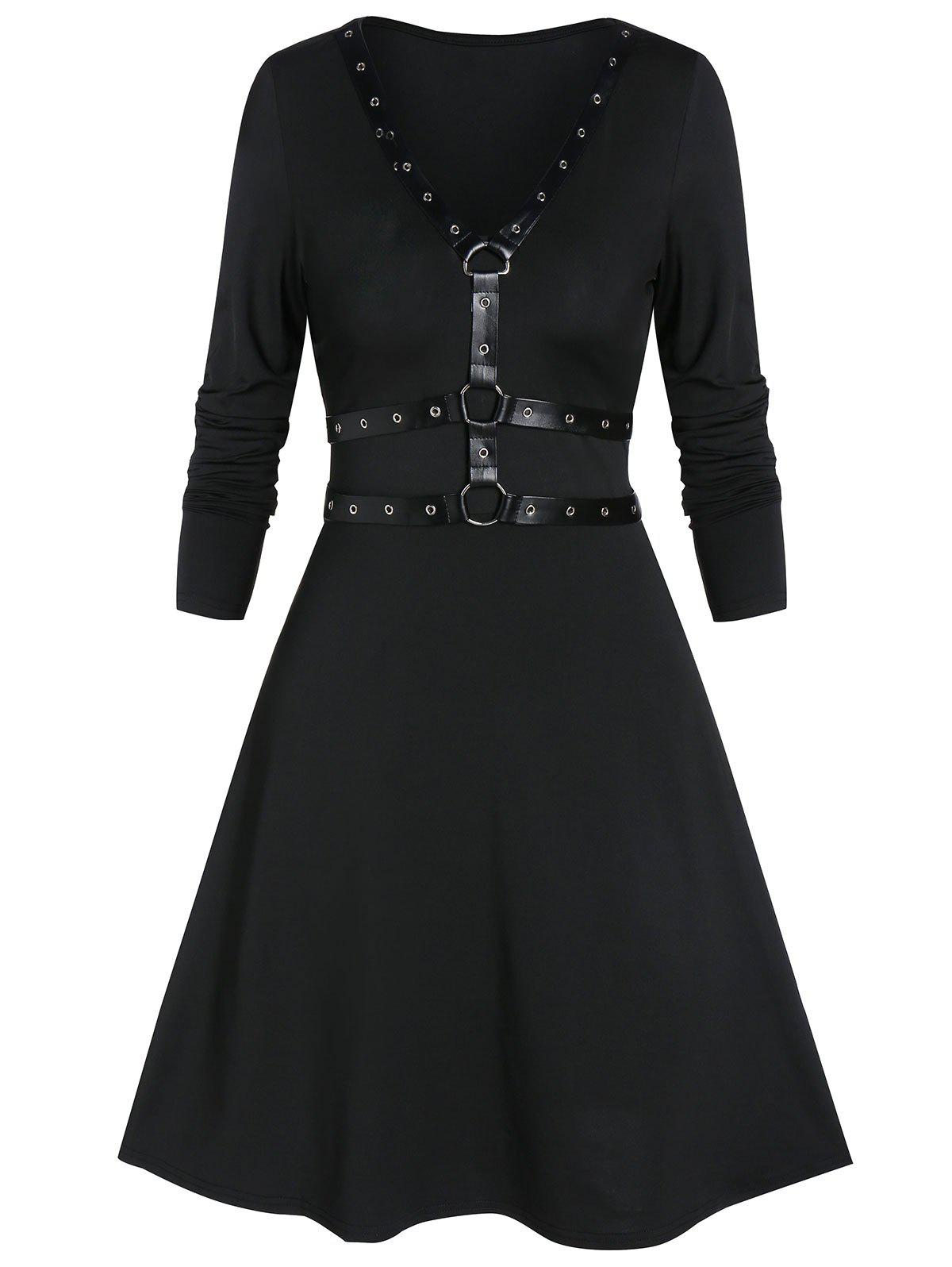Chic Fit And Flare Long Sleeve Plunge Gothic Dress