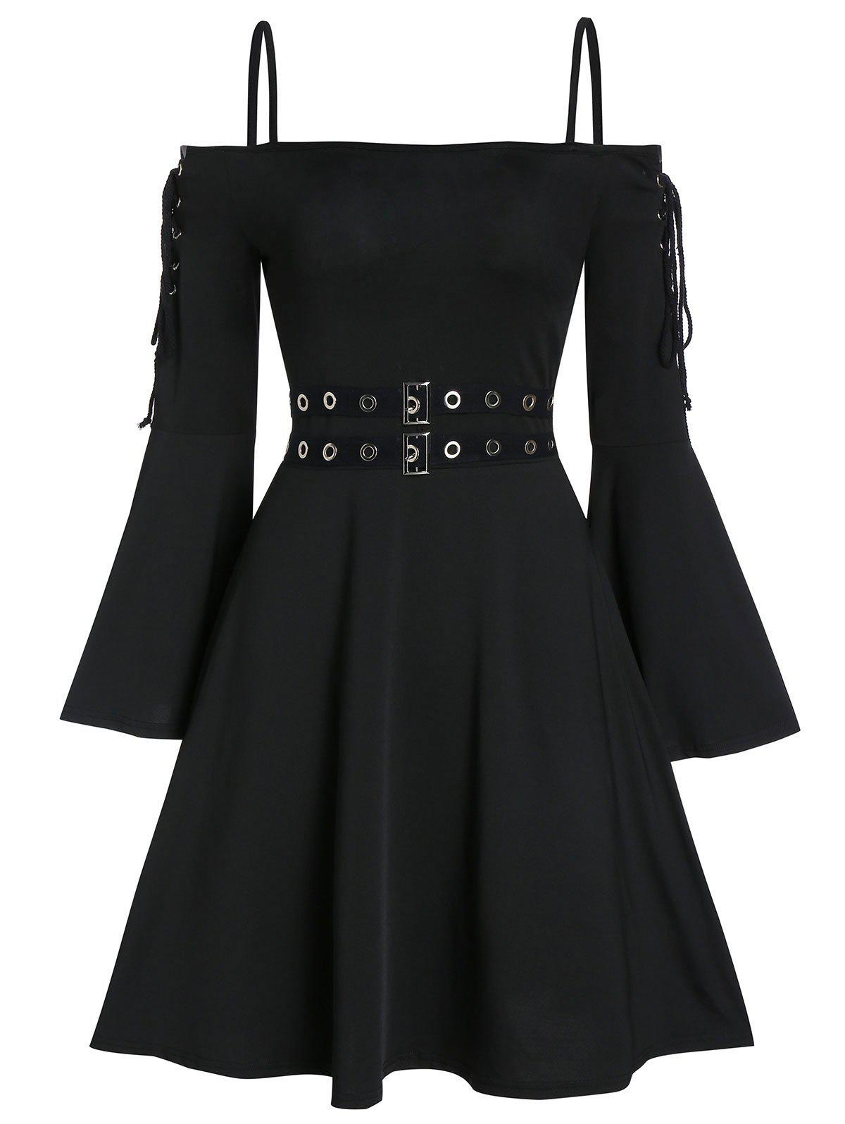 Best Lace Up Open Shoulder Spaghetti Strap Gothic Dress