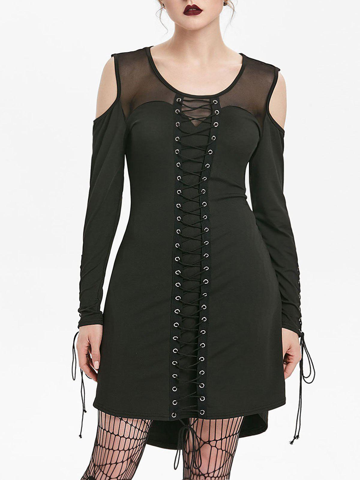 New Mesh Insert Cold Shoulder Lacing Gothic Dress
