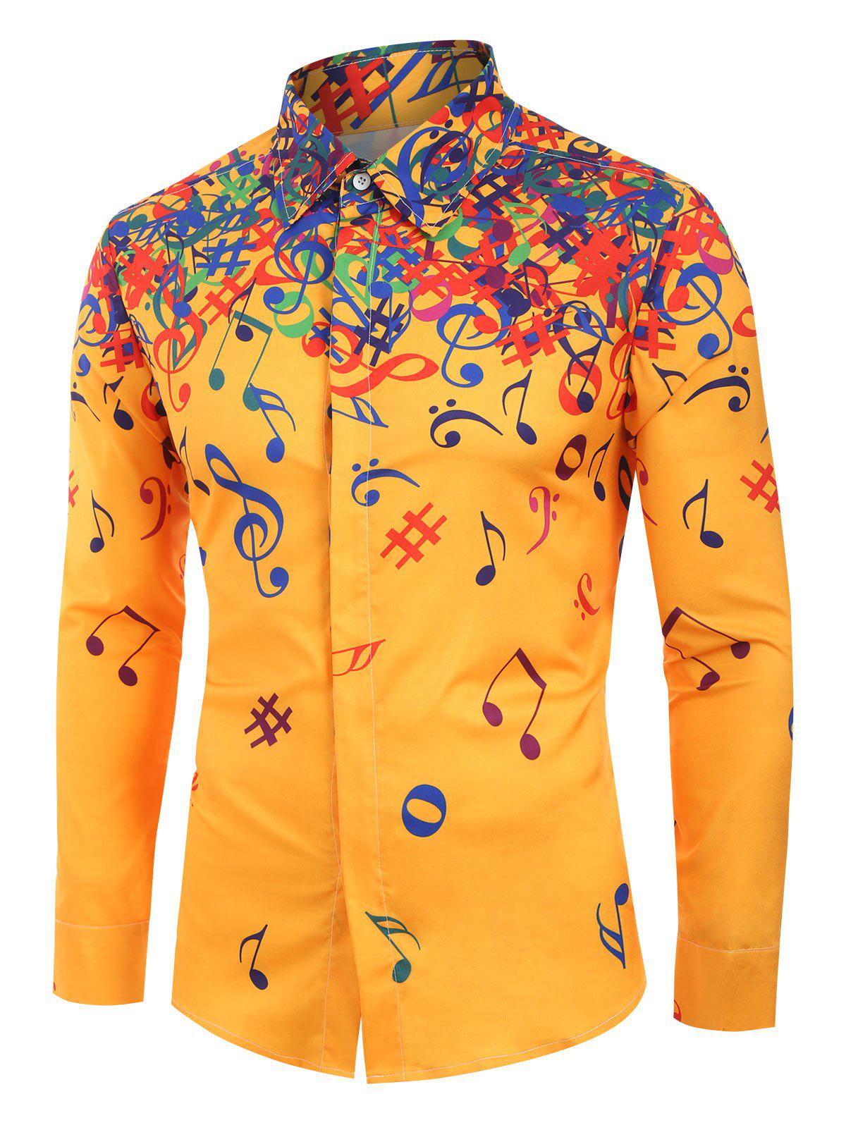 Outfit Musical Note Pattern Long Sleeves Shirt