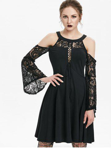 Open Shoulder Lace Up Bell Sleeve Gothic Dress