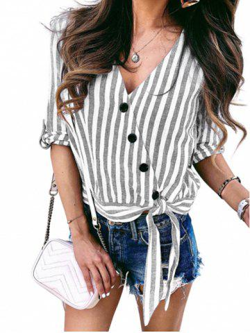 Buttons Striped Knotted V Neck Blouse