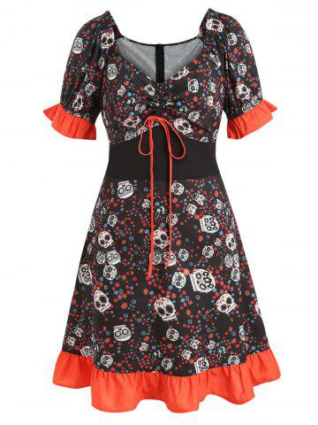 Plus Size Halloween Skulls Print Flounce Cinched Dress