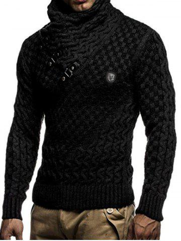 Casual Buckle Decoration Knitted Sweater