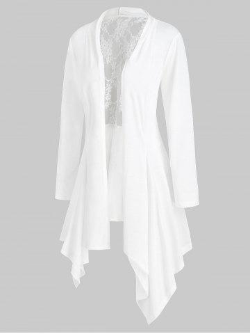 Handkerchief Lace Panel Open Front Plus Size Cardigan