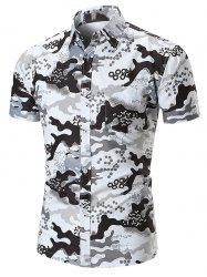 Hexagon Camouflage Print Pocket Button Up Shirt -