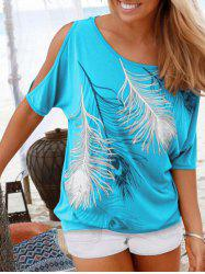 Peacock Feather Open Shoulder Blouson T-shirt -