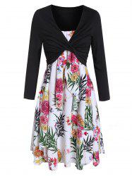 Flower Print Overlap Dress and Long Sleeve T-shirt Set -