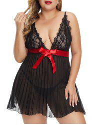 T Back Bowknot Lace Panel Pleated Plus Size Babydoll -