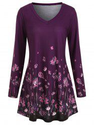 Long Sleeve Floral V Neck Plus Size Top -