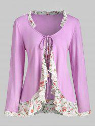Floral Panel Tie Front Ruffles Plus Size Top -