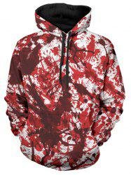 Allover Blood Print Drawstring Halloween Hoodie -