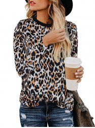 Long Sleeve Leopard Casual T-shirt -