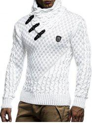 Casual Buckle Decoration Knitted Sweater -