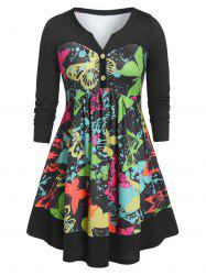 Plus Size Button Butterfly Print Long Sleeve T Shirt -