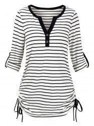 Plus Size Roll Up Sleeve Cinched Stripe T-shirt -