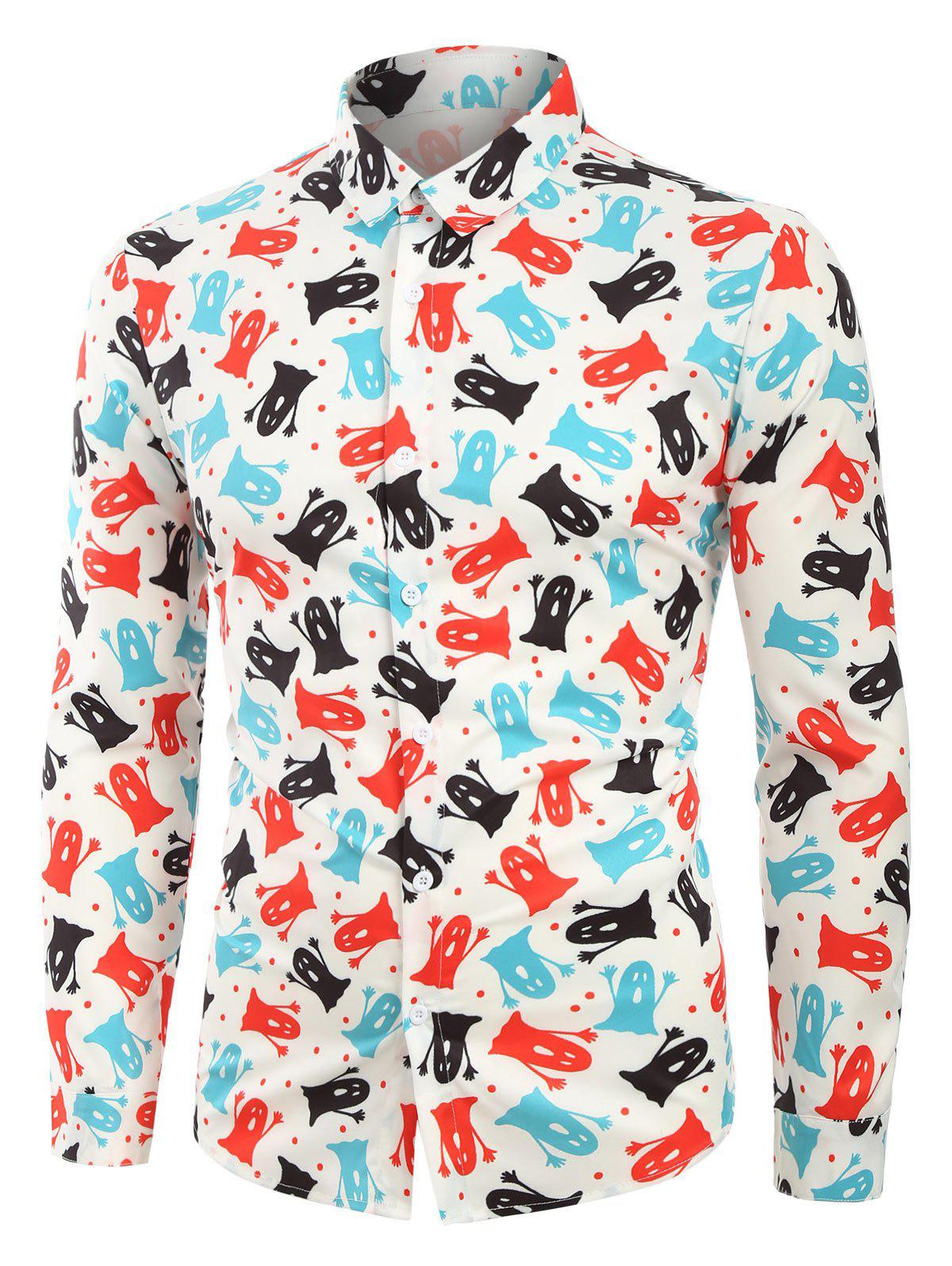 Unique Cartoon Ghost Print Long Sleeves Shirt
