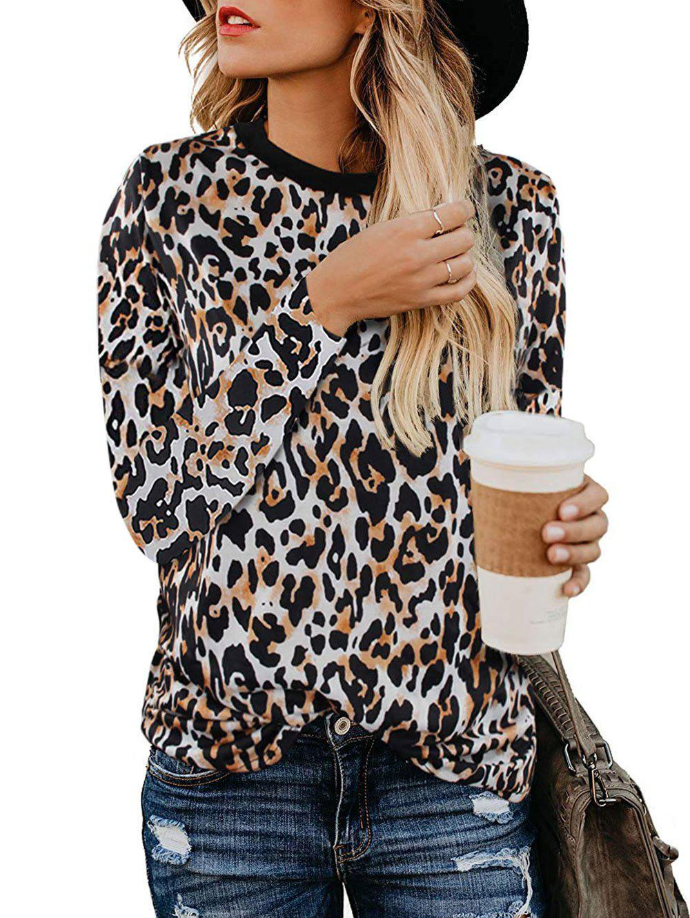 Outfit Long Sleeve Leopard Casual T-shirt