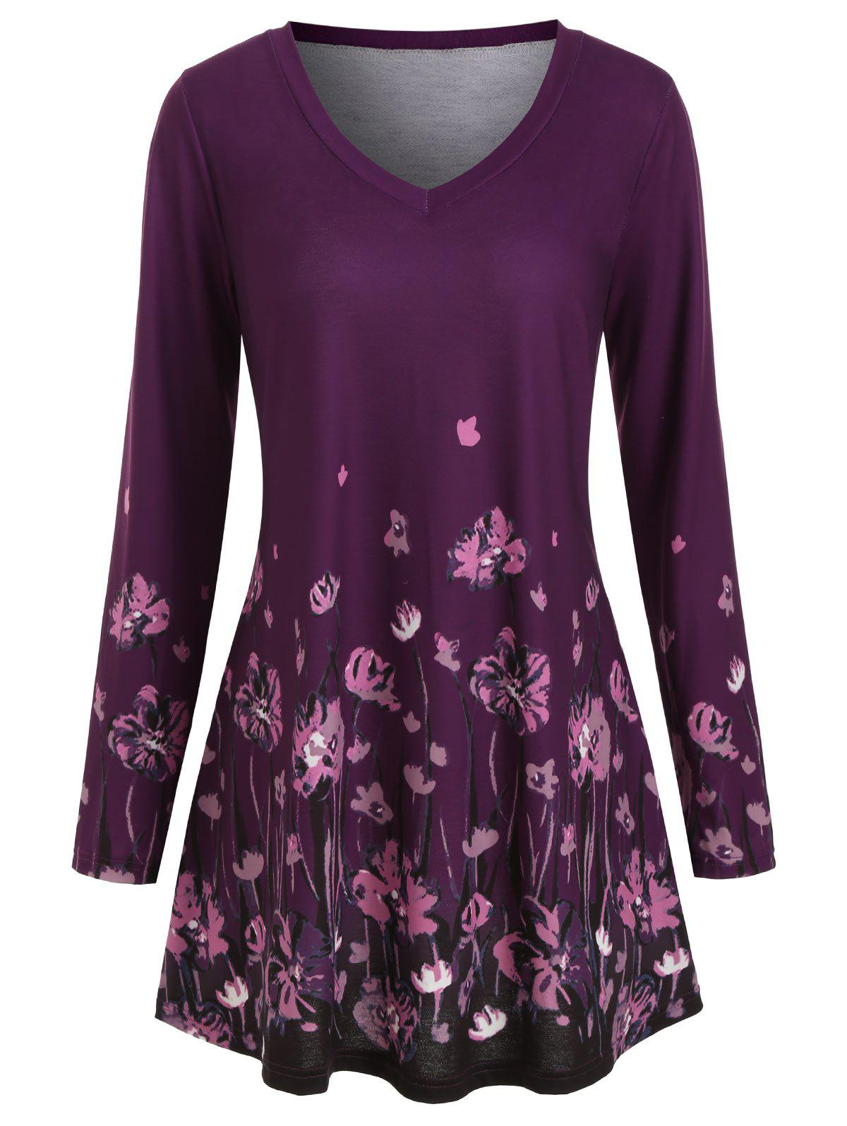 Fashion Long Sleeve Floral V Neck Plus Size Top