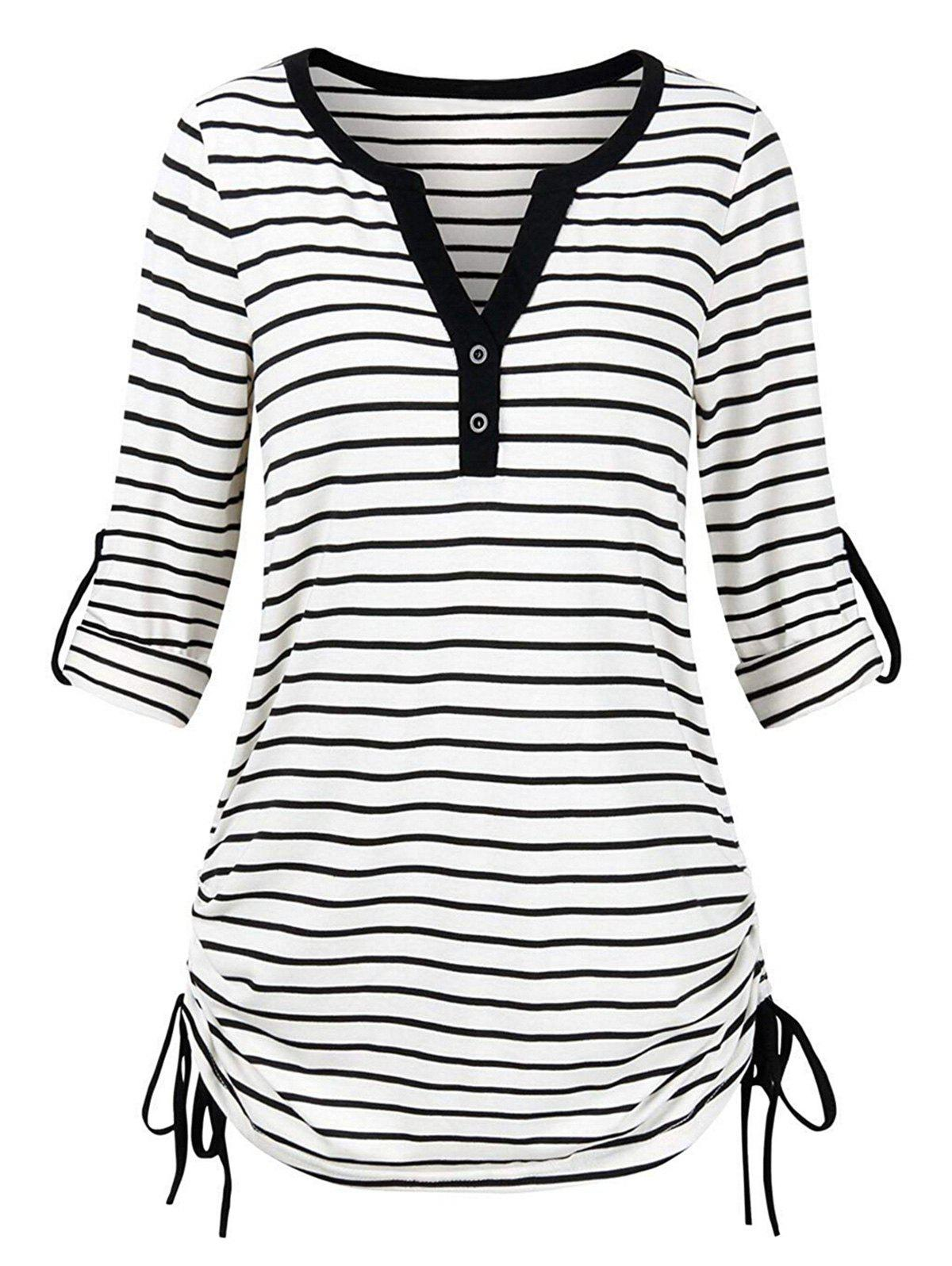 Trendy Plus Size Roll Up Sleeve Cinched Stripe T-shirt