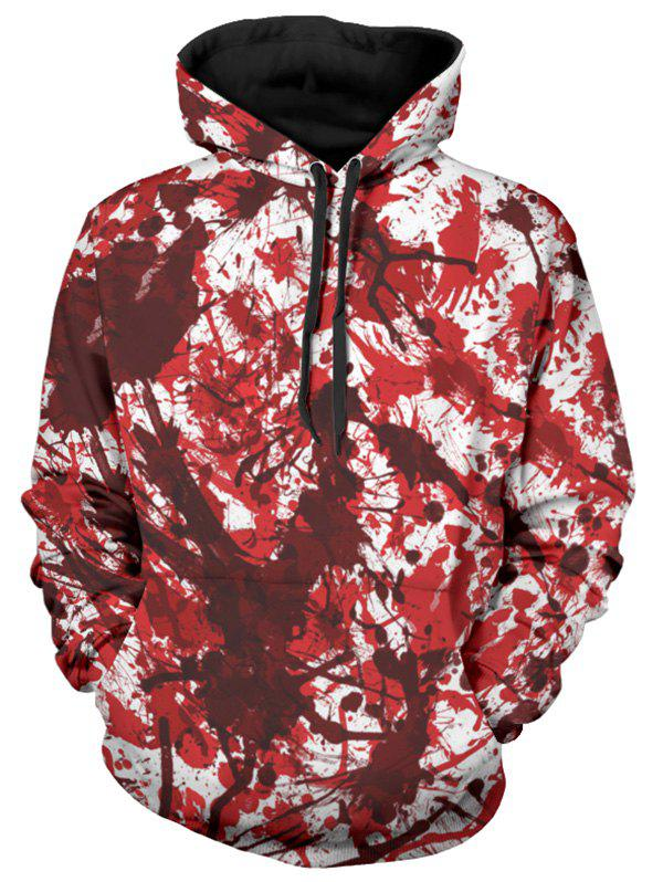 Cheap Allover Blood Print Drawstring Halloween Hoodie