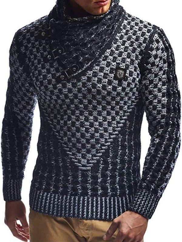 Latest Casual Buckle Decoration Knitted Sweater