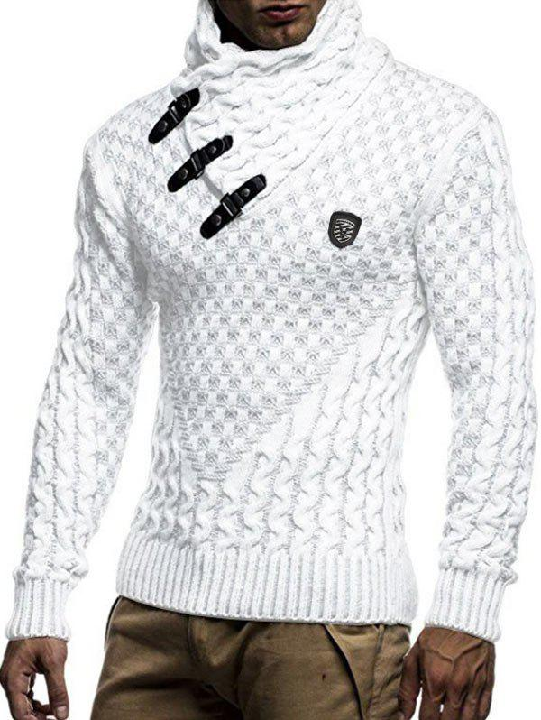 Trendy Casual Buckle Decoration Knitted Sweater