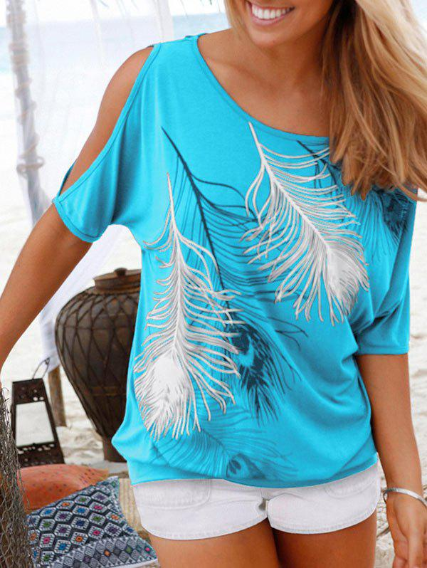 Discount Peacock Feather Open Shoulder Blouson T-shirt
