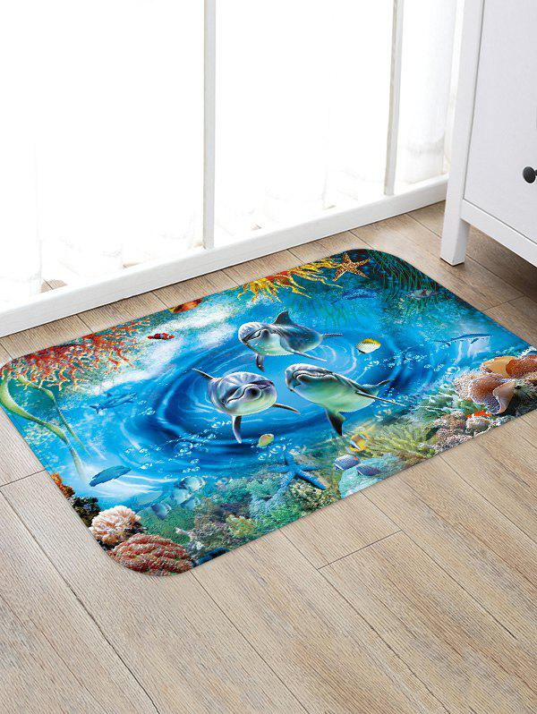 Fashion Underwater Dolphin Pattern Water Absorption Area Rug