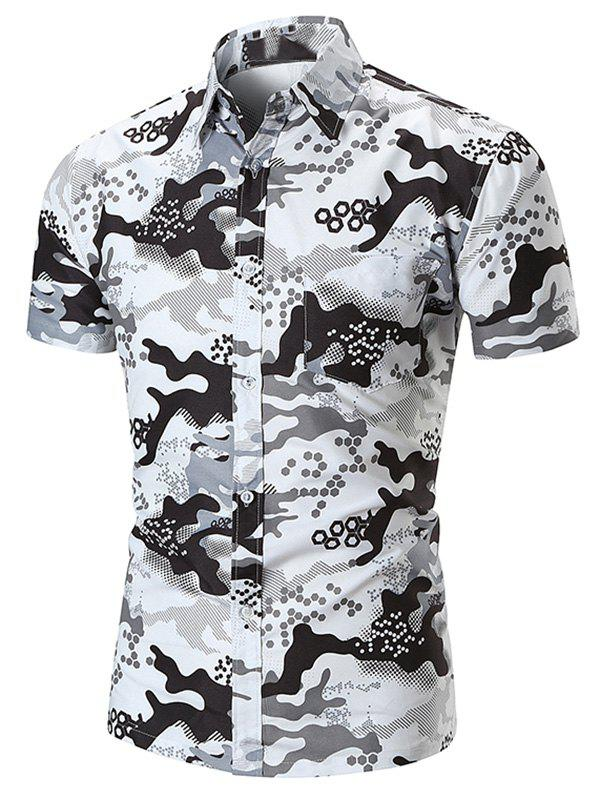 Shops Hexagon Camouflage Print Pocket Button Up Shirt