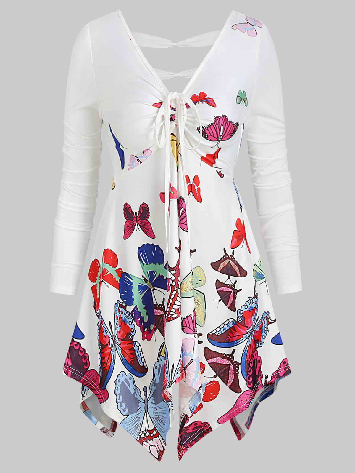 Shop V Neck Butterfly Print Asymmetrical T Shirt
