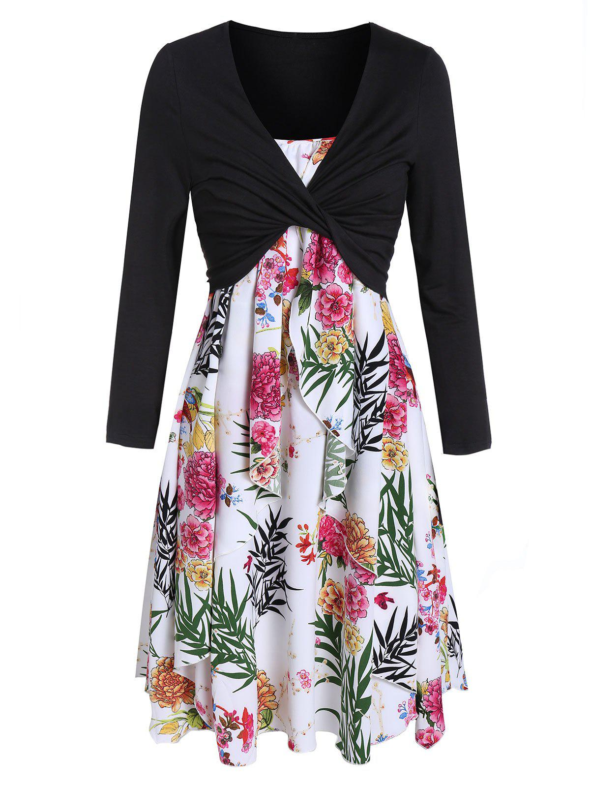 Trendy Flower Print Overlap Dress and Long Sleeve T-shirt Set