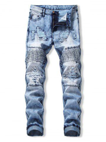 Drape Panel Ripped Design Flanging Jeans