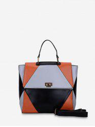 Color Block Patch PU Leather Handbag -