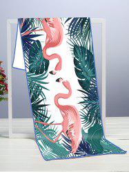 Tropical Leaves and Flamingo Pattern Quick-drying Beach Towel -
