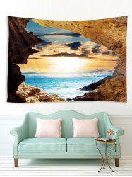 Sea Mountain Sunset 3D Print Wall Tapestry -
