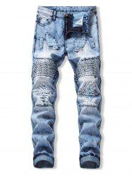 Drape Panel Ripped Design Flanging Jeans -