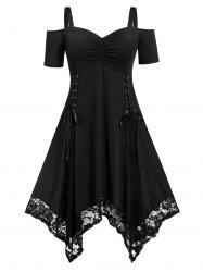 Ruched Lace Up Short Sleeves Lace Trim Plus Size Handkerchief Dress -