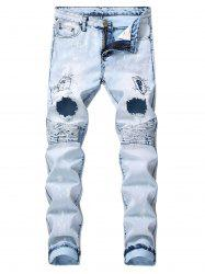 Ruffle Destroyed Design Leisure Jeans -