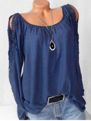 Plus Size Lace Crochet Roll Up Sleeve Peasant Blouse -