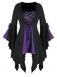 Plus Size Asymmetrical Lace Up Sequined Gothic Flare Sleeve Tee -
