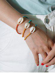 3Pcs Colored Shell Beads Bracelet Set -
