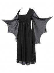 Plus Size Flare Sleeve Maxi Gothic Dress -