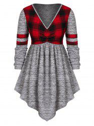 Plus Size Plunge Checked Panel Marled T Shirt -