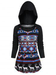 Christmas Tribal Print Hooded Raglan Sleeve Kangaroo Pocket Knitwear -