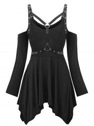 Plus Size Halloween Cold Shoulder Harness Gothic T-shirt -
