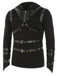 Faux Leather Strap Harness Insert Lace-up Hoodie -