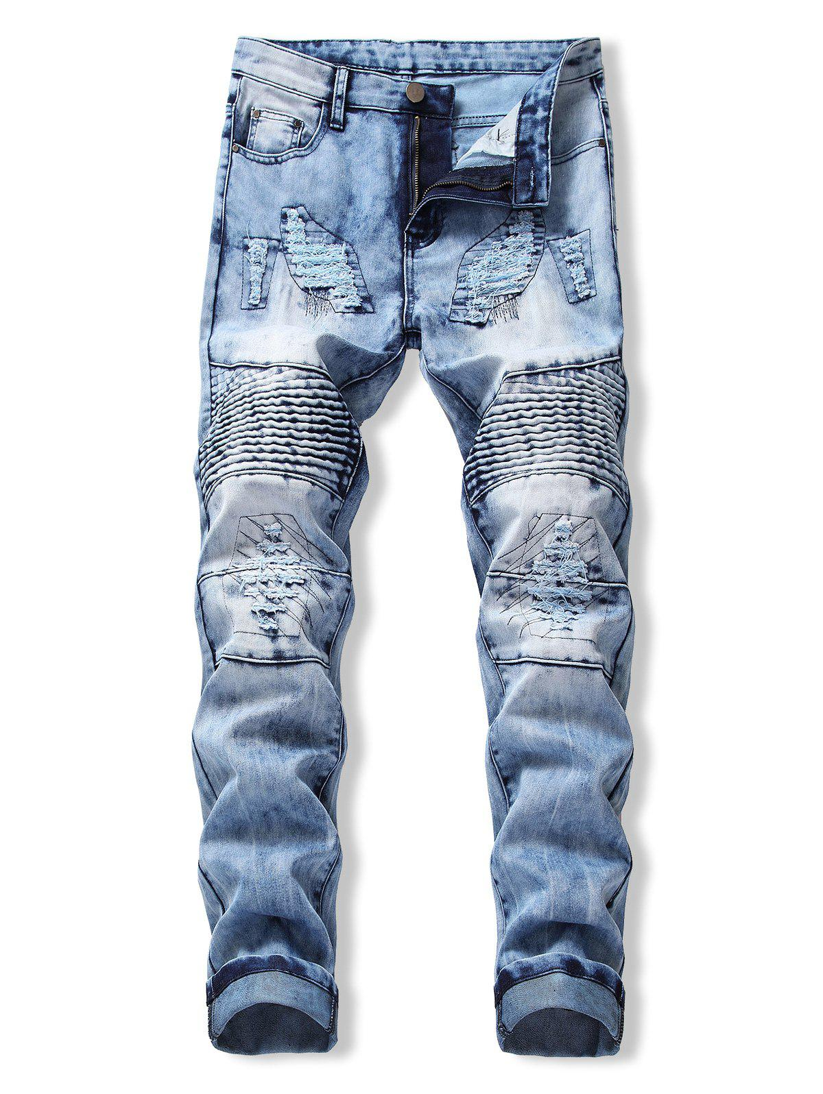 Fashion Drape Panel Ripped Design Flanging Jeans